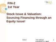 FIN-2Lecture 10-Share Issuance and Valuation (1)