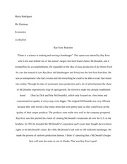 Essay on Ray Kroc and his effect on Economics