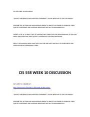 CIS 558 WEEK 10 DISCUSSION.docx
