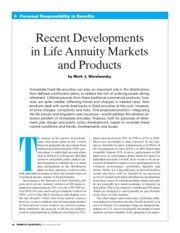 Recent Developments in Life Annuity Markets and Products