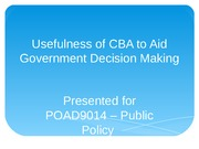 Assignment 1 - How Useful is CBA in government decision making