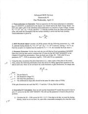 Homework 5 Solution on Advanced MOS Devices