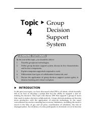 Topic 4 Group Decision Support System