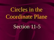 11-5 Circles in the Coordinate Plane