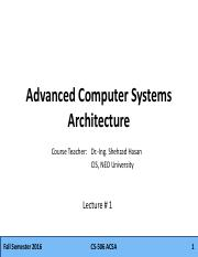 Advanced Computer Systems Architecture lecture1