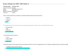 Final Exam Details for MGT 498 Week 5
