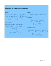 Summary Note of Logarithm Proreties