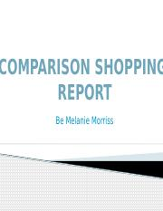 Comparison shopping report