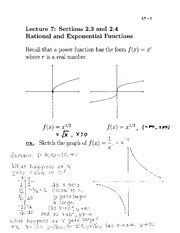 Lecture 7- Rational and Exponential Functions