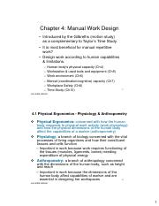 Chapter 4 Manual Work Design