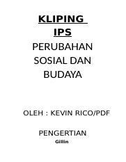 Kliping Ips Kliping Ips Perubahan Sosial Dan Budaya Oleh Kevin