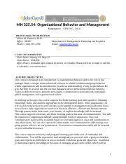 Syllabus- MN 325.54  Introduction to Organizational Behavior- SPRING 2016 (online)