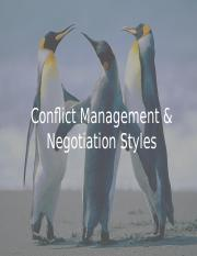 NCM Week 4 (Conflict Mgt & Negotiation Styles)
