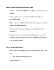 Kidney function Abnormal constituents Notes