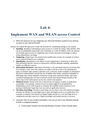 Lab 4 implementing WAN and WLAN  access control