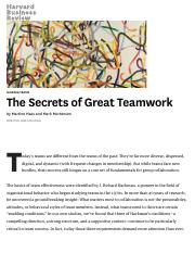 The Secrets of Great Teamwork