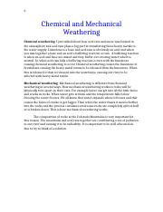Chemical and Mechanical Weathering