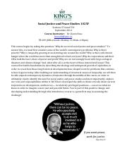 Social Justice and Peace Studies 1025F Syllabus