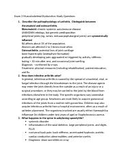 Musculoskeletal  Study Questions Pathophysiology