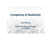 Systems Analysis and Design lecture 26 complexity and modularity
