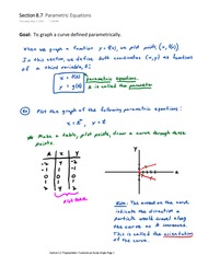 Section 8.7 A Parametric Equations