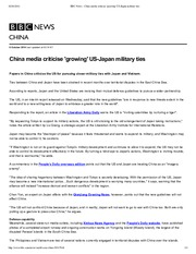 1009 BBC News - China media criticise 'growing' US-Japan military ties BBC NP.pdf