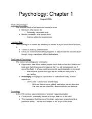 Psych Notes 0825 pdf - Psychology Chapter 1 August 25th What