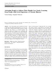 Activating People to Address Their Health Care Needs- Learning from People with Lived Experience of