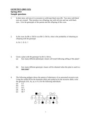 BIO 325 Spring 2014 - Sample questions