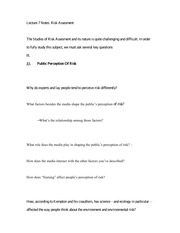Lecture 7 Notes Risk Assesment