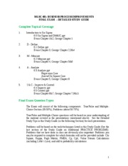 MGSC 485 - Fall 2010 - FINAL EXAM STUDY GUIDE with answers