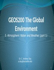 5. Atmospheric Water and Weather (part 1)