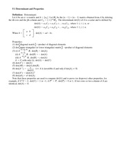 Lecture Notes on Determinant and Properties
