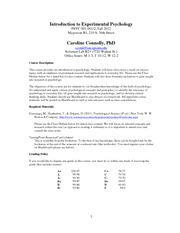 Connolly Intro to Experimental Psychology Syllabus Fall 2012
