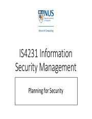 IS4231 02 Planning for Security