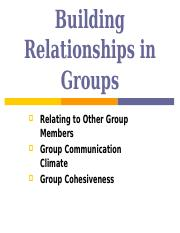 Lecture 4 - Building Relationships in Groups
