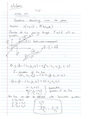 Equations Describing Lines and Planes Notes