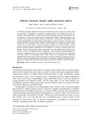 Students' Facebook 'friends'- public and private spheres.pdf
