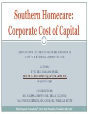 Southern Homecare Corporate Cost of Capital Group PPT Case Study
