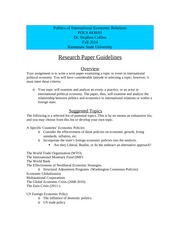 Research Paper Guidelines - POLS 4438 - Fall  2014