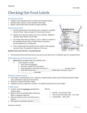 7 - Food Labels notes