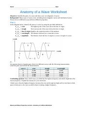 Anatomy of a Wave Worksheet.doc - Name C Williams Date ...
