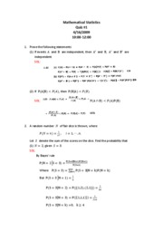 Mathematical Statistics Quiz#1-SOL--2009