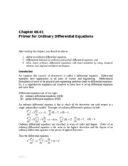 Primer for Ordinary Differential Equations
