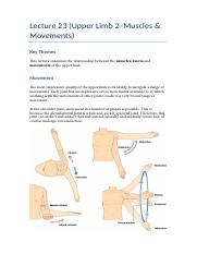 Lecture 23 (Upper Limb 2–Muscles & Movements)