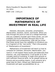 IMPORTANCE OF MATHEMATICS OF INVESTMENT IN REAL LIFE