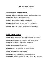 03 MBA -LIST OF NEW SPECIALISATIONS