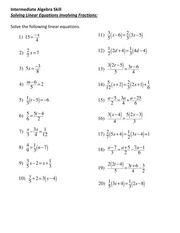 Math 0027 Solving Linear Equations Involving Fractions homework