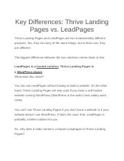 Key Differences btwn landing pages and thrive pages