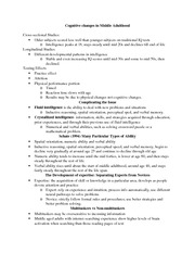 Cognitive Changes in Middle Adulthood Notes